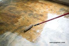 how we stained out concrete floors, concrete masonry, diy, flooring, kitchen design Diy Concrete Stain, Concrete Basement Floors, Painted Concrete Floors, Painting Concrete, Concrete Patio, Acid Stained Concrete Floors, Finished Concrete Floors, Diy Interior Concrete Floors, Ideas For Concrete Floors