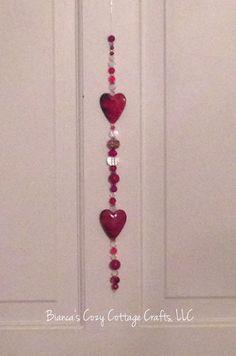 Valentine gift beaded suncatcher red by BsCozyCottageCrafts