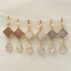 WT-E299 Newest!Spring Gorgeous Natural druzy agate and freshwater pearl earrings, fashion gold plated dangling pearl earrings