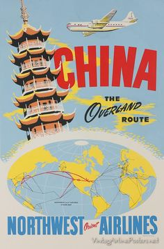 CHINA  Vintage Travel Poster Northwest Orient Airlines