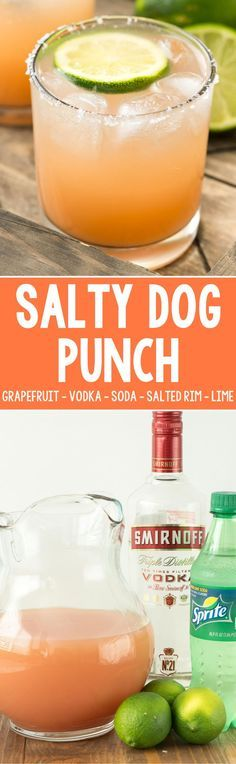 Salty Dog Punch - this easy cocktail recipe is made with grapefruit juice, vodka, and soda with lime for garnish and a salted rim! It\'s the perfect not-to-sweet spring or summer punch!