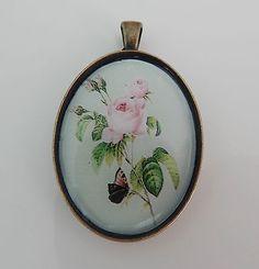 pendentif cabochon bronze pastel rose vert  impression photo 40x30mm €4.50