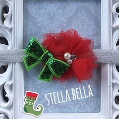 Christmas Baby Headband, Adjustable Christmas Baby Headband, Holiday Headband, Baby Headband, Baby Girl by BoutiqueStellaBella on Etsy https://www.etsy.com/listing/256029501/christmas-baby-headband-adjustable