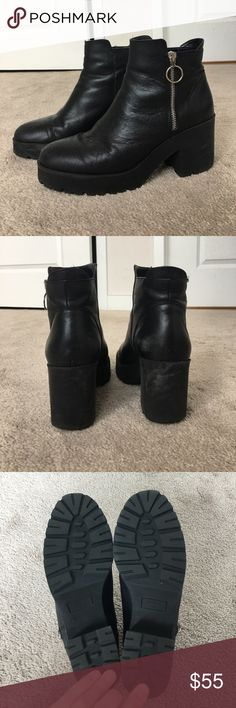 Mango Platform Ankle Boot This is the used pair I have. I am also selling a NWT pair. Some wear in terms of leather broken in and minor scratch marks, but the soles are in perfect condition. Fit closer to 9.5 than 10. 8 cm heel. Mango Shoes Ankle Boots & Booties