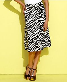 INC International Concepts Skirt, Zebra-Print Tiered Midi - Skirts - Women - Macys