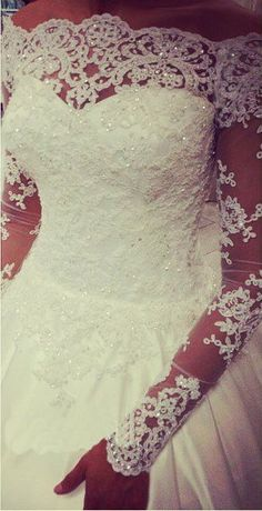 $189-Long Sleeves Off-Shoulder A-line Wedding Dresses Lace Beaded Bodice Satin Court Train Vintage Bridal Gowns