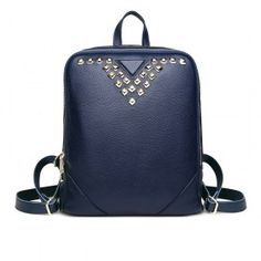 Double Zip Genuine Leather Backpack with Rivets Decoration