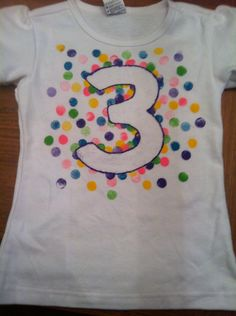 Sprinkle/ confetti 3 year old birthday party shirt