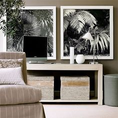 Neutral scheme Living Rooms happily accommodate bold monochrome statement art. The images make the room scheme come alive without being too confrontational.