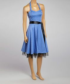 Another great find on #zulily! Blue & White Ribbon Halter Dress by HEARTS & ROSES LONDON #zulilyfinds