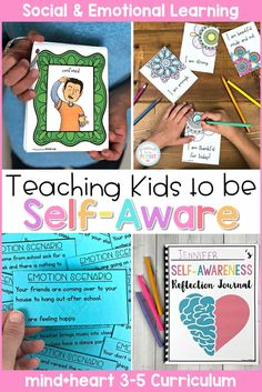 Self Awareness - Social Emotional Learning & Character Education Curriculum Teach children to be self-aware, identify and communicate their emotions, build self-esteem, and learn about role models and personality traits with this social emotional learn Social Emotional Activities, Counseling Activities, Therapy Activities, Learning Activities, Activities For Kids, Stem Activities, Teaching Emotions, Teaching Kids, Kids Learning