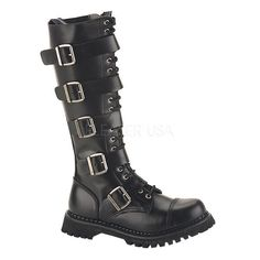 Demonia Riot-20 goth gothic punk biker combat leather knee high boots women 6-16 in Clothing, Shoes & Accessories, Women's Shoes, Boots | eBay