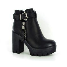 Bottine Mirza Noir : La bottine noire compensée parfaite pour un look tendance et assumé !