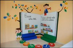 23 collaborative projects for the new school year 00006 Preschool Classroom, Classroom Decor, Kindergarten, Class Decoration, School Decorations, Book Corners, Library Design, Classroom Organization, School Design
