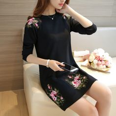 2016 autumn dresses in the long sleeve  Korean slim head peony sweater dress F1228-in Pullovers from Women's Clothing & Accessories on Aliexpress.com | Alibaba Group