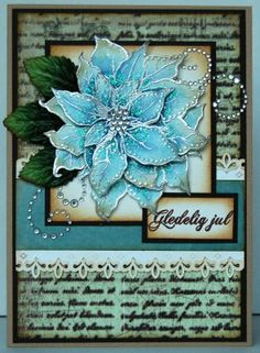 Love the aqua poinsettia - I think this would make a great picture to hang on the wall.