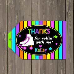 Roller Skating Party Favor Tag Neon Skate Party by PartyPopInvites