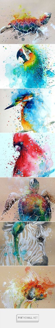 Splashed watercolors by Tilen Ti - love these! #watercolorarts