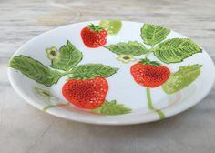 vintage Fitz and Floyd strawberry plate, 5 inch plate, Neiman-Marcus, FF by MotherMuse on Etsy