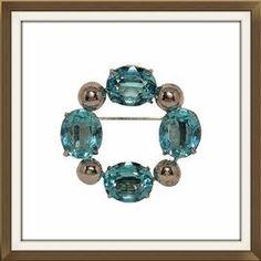 Large Art Deco Sterling Silver Blue Crystal Brooch  £125