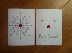 button craft christmas cards - use rhinestones instead? Cute reindeer drawing idea for a sign - Crafting Intensity Christmas Card Crafts, Homemade Christmas Cards, Handmade Christmas, Homemade Cards, Holiday Cards, Button Christmas Cards, Simple Christmas Cards, Christmas Lights, Reindeer Drawing