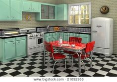 When I have the money, I'm totally doing a 1950s kitchen with the vintage-looking appliances and everything! Probably not the blue cabinets, but definitely the checkered floor and red formica table!!