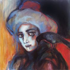 "Saatchi Online Artist Suhair Sibai; Painting, ""Girl and The Crow!"" #art"