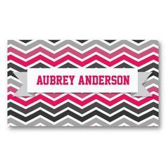 Chevron Pink Grey Gray Custom Flag Business Card Template