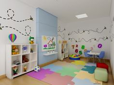 A good office interior design will make you feel comfortable to do your daily job. Today an office interior design is important too as same as a home interior. Playroom Table, Playroom Furniture, Daycare Design, Playroom Design, Daycare Rooms, Home Daycare, Office Interior Design, Home Interior, Decoration Creche