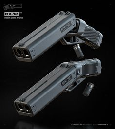 The Punisher Is A Double-Barreled Shotgun Pistol From The Future - Maxim Zombie Weapons, Sci Fi Weapons, Weapon Concept Art, Weapons Guns, Fantasy Weapons, Guns And Ammo, Airsoft Guns, Punisher, Armas Ninja