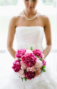 love the dark pink / fuchsia peonies in bouquet! The Fuchsia would be perfect against my Sangria bridesmaid dresses