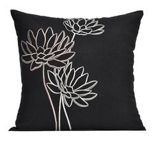 Lotus couch pillow cover embroidered pillow black linen Source by mariadeftimacsaremelo Black Pillow Covers, Couch Pillow Covers, Black Pillows, Pillow Shams, White Decorative Pillows, Modern Pillows, Decorative Pillow Covers, Sewing Pillows, Linen Pillows