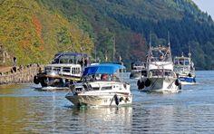 Der Bootsverkehr an der Saarschleife wird jetzt wieder deutlich stärker. :-) Saarland, Germany