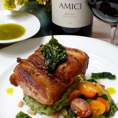 Amici Pinot Noir and Pancetta-Wrapped Salmon with Pesto Mashed Potatoes.  Get the recipe at http://www.amicicellars.com/recipes