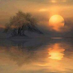 by Veronika Pinke Morning Sunrise, Autumn Morning, Dusk To Dawn, Stars And Moon, Beautiful World, Beautiful Scenery, Beautiful Places, Nature Photos, Painting Inspiration