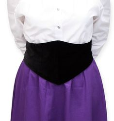 Put the finishing touch on your outfit with this waist flattering belt.  Features a bone front diamond that tapers in the back to 2 sets of metallic buttons, which allow you to adjust the belt length. Diamond measures approximately 8-9 inches in the front and tapers to approximately 3 inches in the back.Made of 100% velvet. Available in sizes XS - 3X. Imported. Button styles may vary. Also available in Black Cotton.