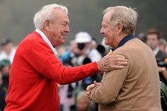 : Honorary starters Arnold Palmer and Jack Nicklaus of the United States talk before they tee off to start the first round of the 2013 Masters Tournament at Augusta National Golf Club on April 2013 in Augusta, Georgia. (Photo by Harry How/Getty Images) Augusta Golf, Augusta National Golf Club, Public Golf Courses, Best Golf Courses, Kids Golf, Play Golf, Golf Attire, Golf Outfit, St Andrews Golf
