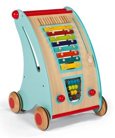 Baby Walker & Activity Centre. This beautifully designed wooden push along activity centre is crafted with soft curves and rounded edges, in funky colours so your little precious can have hours of fun. Not only does it help your tiny tot take his first steps, the activity centre also includes a xylophone, abacus, shape sorter and sound board for hours of educational fun!