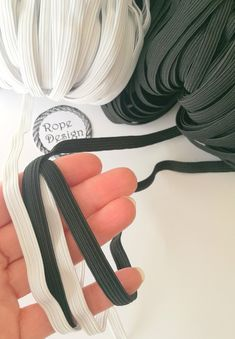 Elastic tape 10 mm (wide), Rubber band, Black and Whit elastic tape, Sewing supplies, Stretch band, Elastic drawcord, DIY face mask