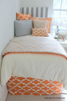 Repin Via Mary Thibert Bedskirts- Extended Style | Sorority and Dorm Room Bedding... like this. Good to hide all the junk