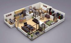 25 Two Bedroom House Apartment Floor Plans - Double Bedroom House Design Images 3d Home Design, Home Design Floor Plans, Plan Design, Modern House Design, Design Ideas, 3d House Plans, 2 Bedroom House Plans, Small House Plans, Master Bedroom Design