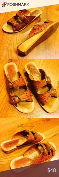 Vintage RAPALLO  Leather Boho Sandals Vintage genuine leather upper with side buckle closure. Wooden wedge heel. Excellent vintage condition. Size 8M Vintage Shoes Sandals