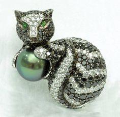 Cat Brooch with Black Diamonds, Colorless Diamonds, Tsavarite Garnet, Tahitian…