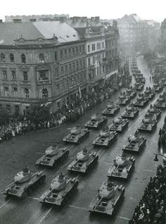 tanks of the Czechoslovak People's Army on the streets of Prague. T 34, Earth And Solar System, Steampunk Characters, Milky Way, Paris Skyline, Czech Republic, Army, City Photo, Louvre