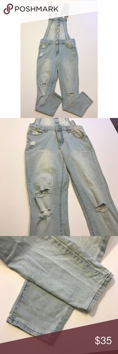 """[Refuge] Light Wash Distressed Skinny Overalls Refuge Light Wash Denim Overalls With Distressed Holes. Excellent Condition. No Flaws. Size Small. Inseam-29"""" Waist-28"""" Rise-8"""" Length-37"""" (from waist down) Length-18"""" (from waist up, straps included), Straps-24"""" (length in total). refuge Jeans Overalls"""