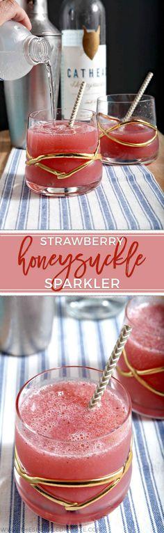 Strawberry Cocktail | Honeysuckle Cocktail | Summertime Cocktail | Summer Drink | Honeysuckle Vodka | Honeysuckle Recipe