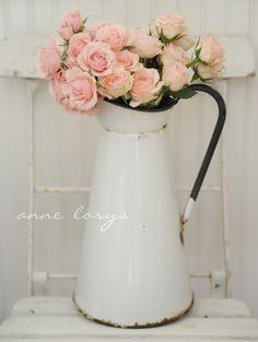 sweet blooms in enamelware