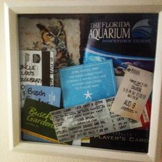 Shadow box of places my baby and I have been in 2013! Can't wait to start 2014! #diy #shadowbox #tickets #flyers #roomkeys