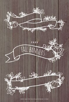 FREE Fall Banner Graphics - Designs By Miss Mandee. These delicate, hand drawn banners would look lovely on a fall wedding invitation!