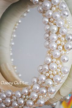 Pearl wreath - glam mirror frame luv this idea might go in my bedroom Glam Mirror, My Mirror, Mirror House, Wall Mirrors, Christmas Wreaths, Christmas Crafts, Christmas Decorations, Christmas Baubles, Christmas Christmas